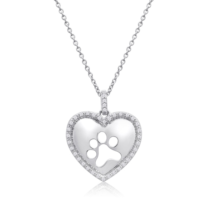 AspcaTender VoicesSterling Silver Diamond Paw Print In Heart Necklace 1/6cttw