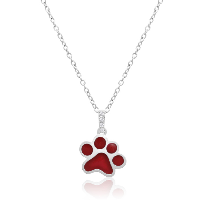 AspcaTender VoicesSterling Silver Diamond Accent Red Paw Print Necklace