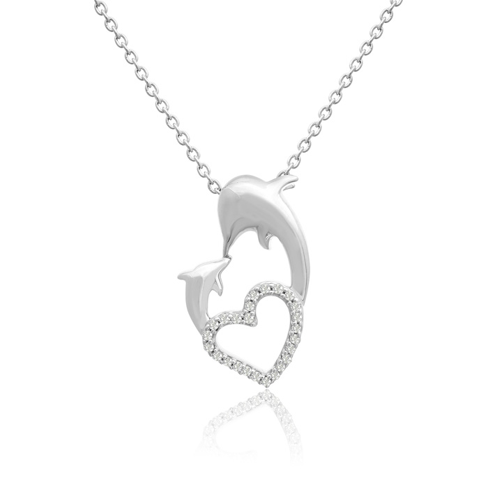 Sterling Silver Diamond Dolphin and Heart Necklace 0.11cttw
