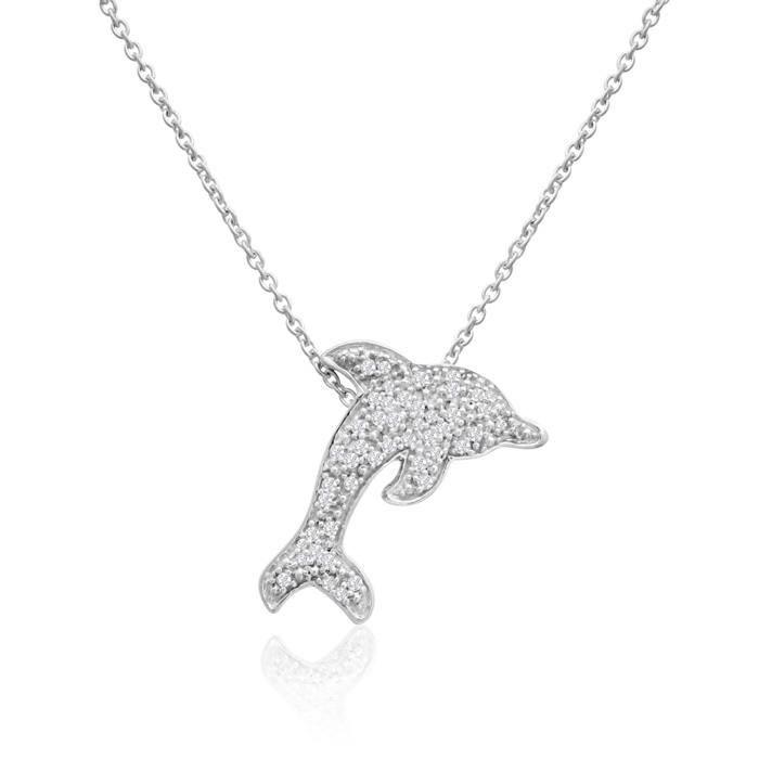 Sterling Silver Diamond Dolphin Necklace 1/6cttw