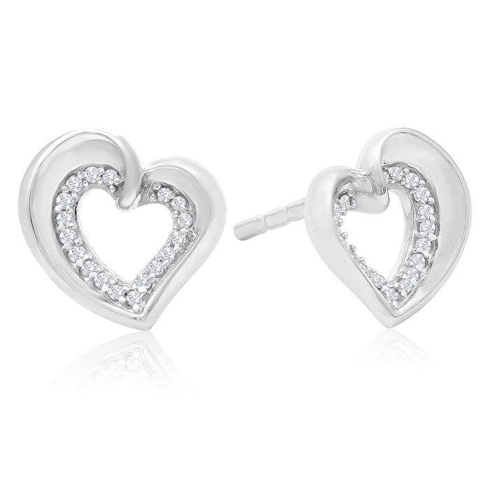 32 Diamond Two Become One Heart Stud Earrings In Solid Sterling Silver
