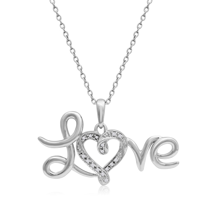 Sterling Silver 0.06 Carat Diamond Love Necklace, 18 Inches