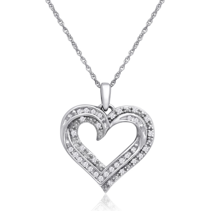 Sterling Silver 1/3 Carat Diamond Heart Necklace, 18 Inches