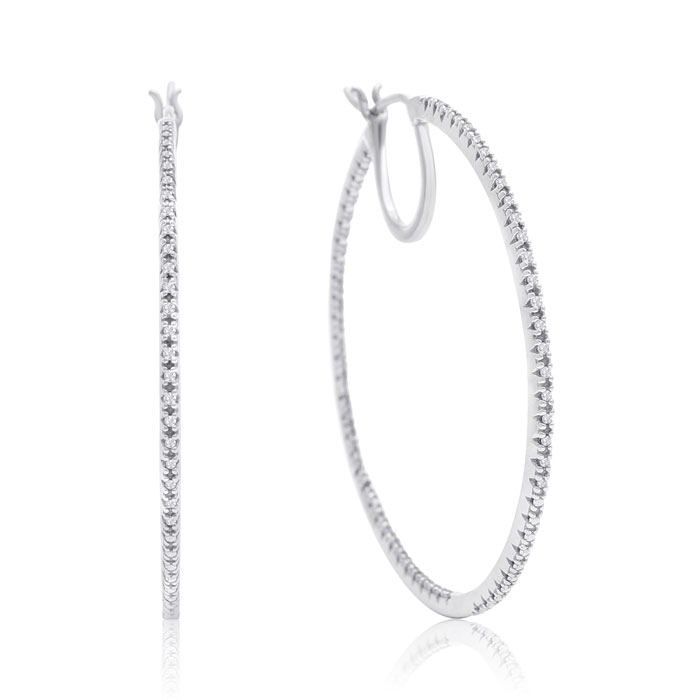Sterling Silver 1/3 Carat Diamond Hoop Earrings, 1 3/4 Inches
