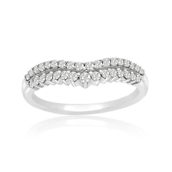 14K White Gold 1/3 Carat Diamond Double Row Ring