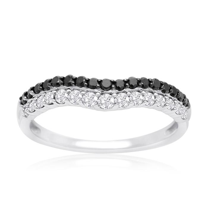 14K White Gold 1/2 Carat Black and White Diamond Double Row Ring