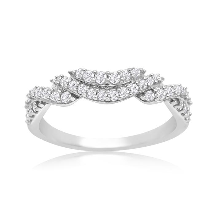 14K White Gold 1/3 Carat Diamond Double Row Swirl Ring