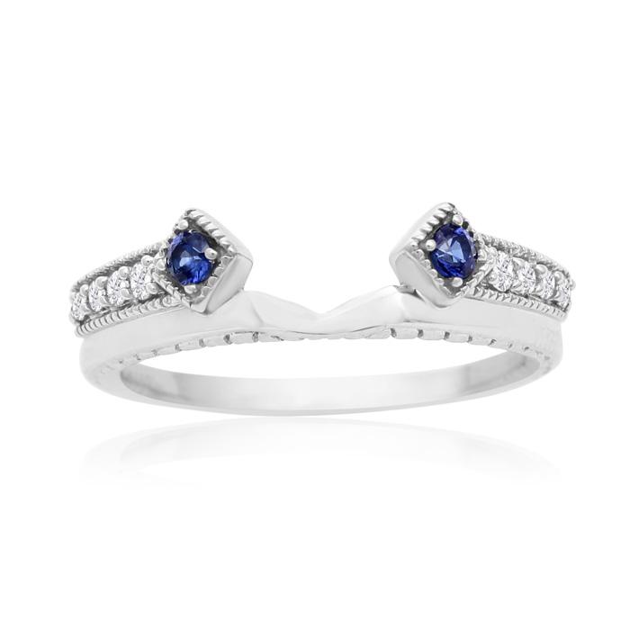 14K White Gold 1/10 Carat Blue and White Diamond Ring Enhancer