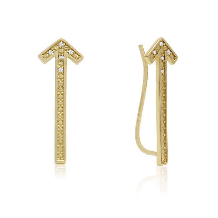 Diamond Accent Arrow Ear Climbers In Gold