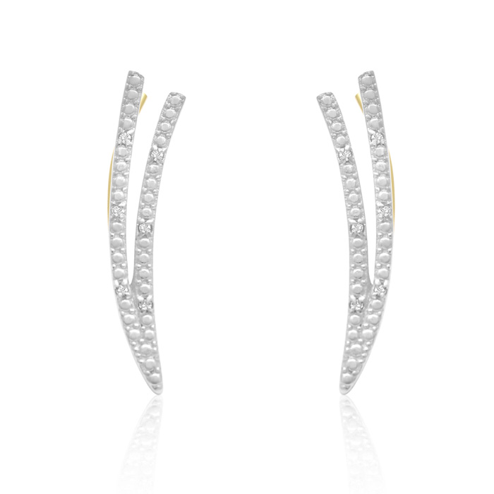 Diamond Accent Double Row Ear Climbers In Gold