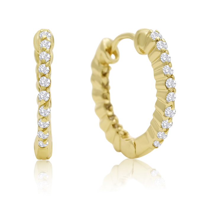 1/4 Carat Diamond Inside Out Hoop Earrings + FREE Diamond Ear Climbers!