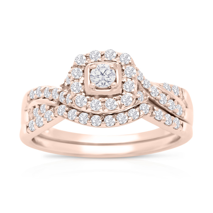 1/2 Carat Halo Diamond Bridal Set In 14 Karat Rose Gold thumbnail