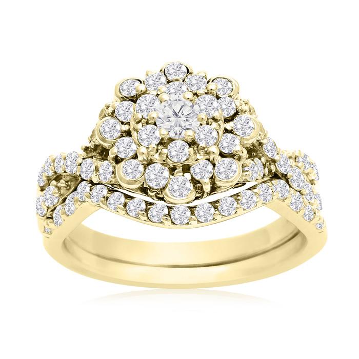 1 Carat Floral Halo Diamond Bridal Set In 14 Karat Yellow Gold