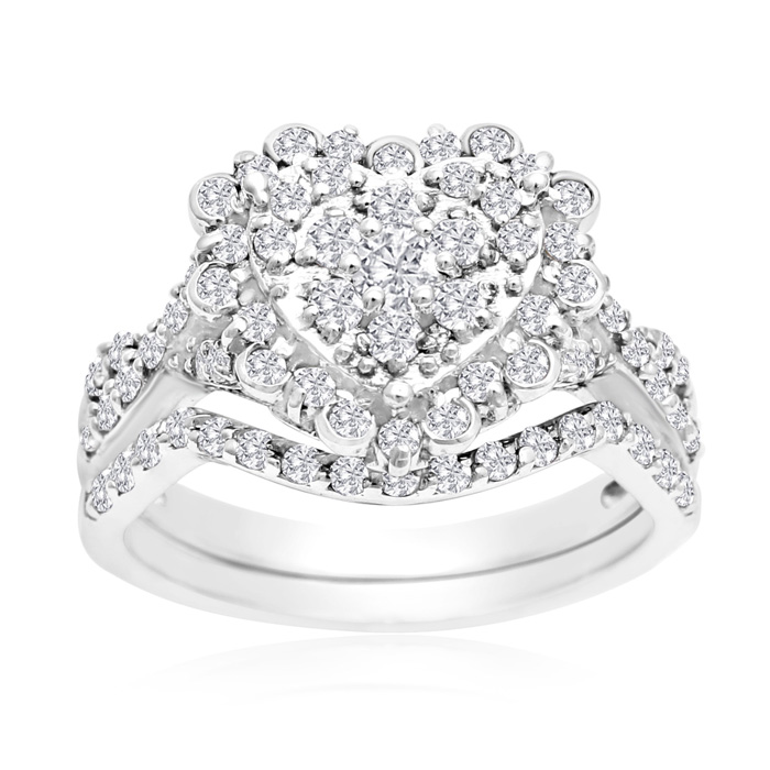 1 Carat Heart Halo Diamond Bridal Set In 14 Karat White Gold thumbnail