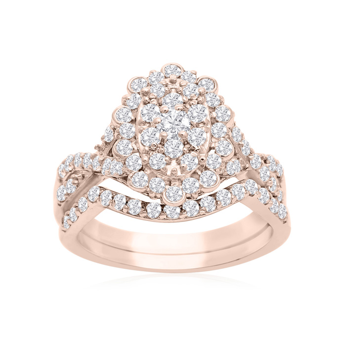 1 Carat Oval Halo Diamond Bridal Set In 14 Karat Rose Gold