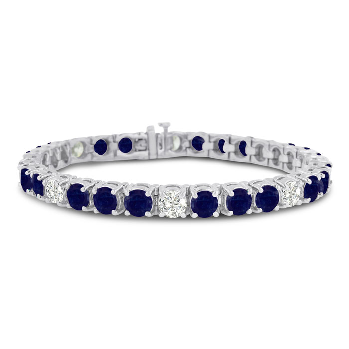 16ct Sapphire And Diamond Bracelet In 14k White Gold