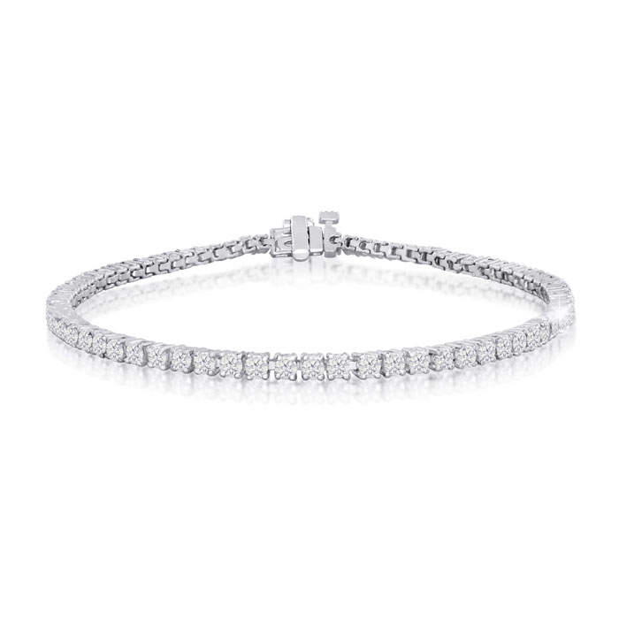3 1/3ct  Round Setting Diamond Tennis Bracelet in 10k White Gold 8 INCH