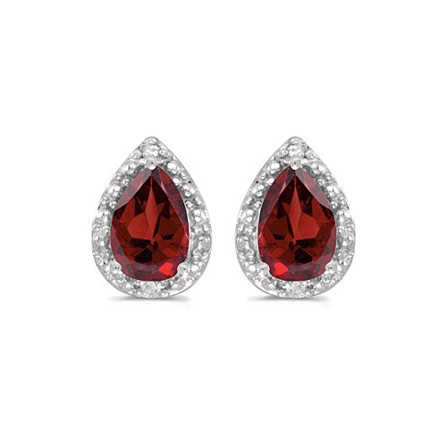 10k White Gold Pear Garnet And Diamond Earrings 22031