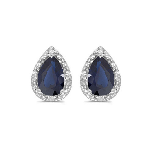 10k White Gold Pear Sapphire And Diamond Earrings