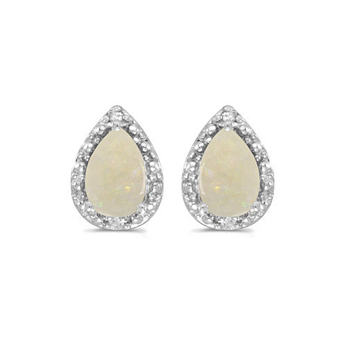 10k White Gold Pear Opal And Diamond Earrings