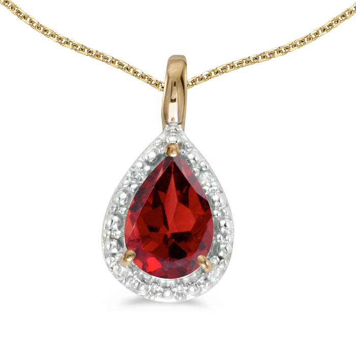 "14k Yellow Gold Pear Garnet Pendant with 18"" Chain"
