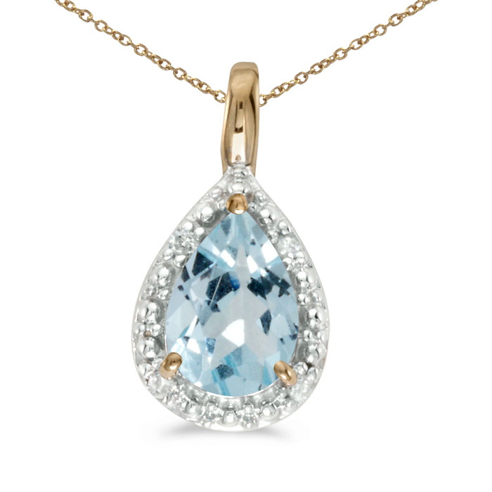 "14k Yellow Gold Pear Aquamarine Pendant with 18"" Chain"