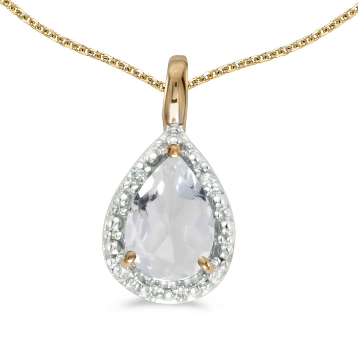 "14k Yellow Gold Pear White Topaz Pendant with 18"" Chain 22084"