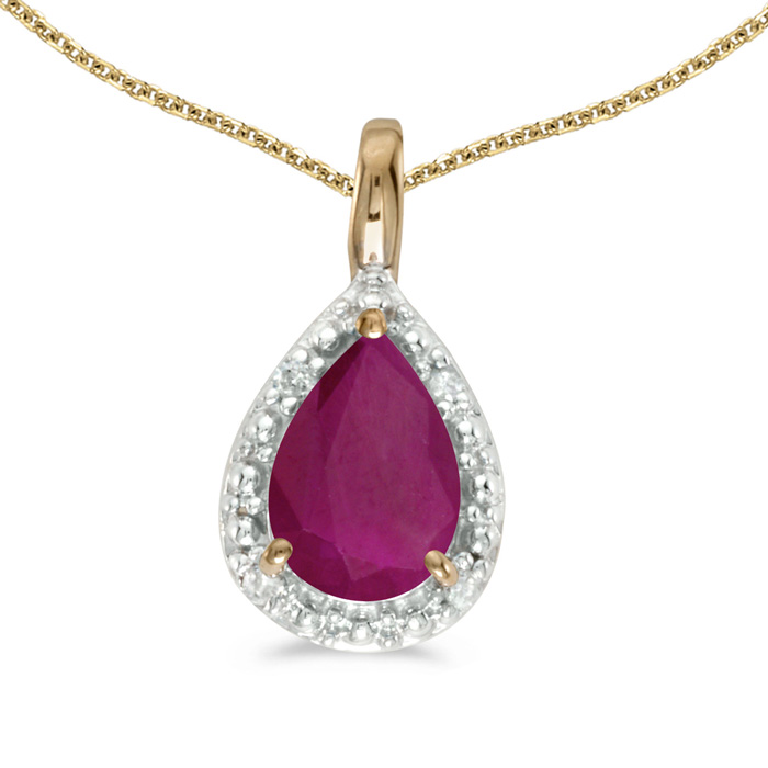 "14k Yellow Gold Pear Ruby Pendant With 18"" Chain"
