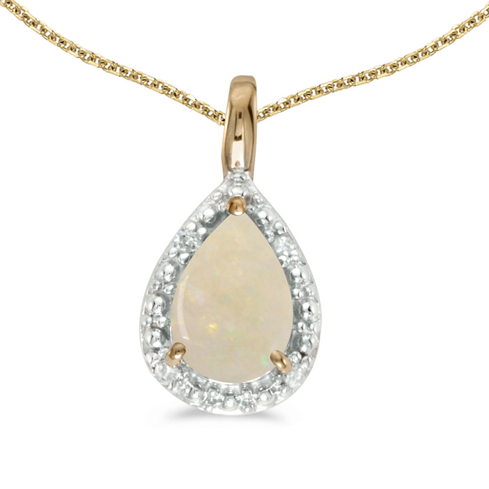 """14k Yellow Gold Pear Opal Pendant with 18"""" Chain"""