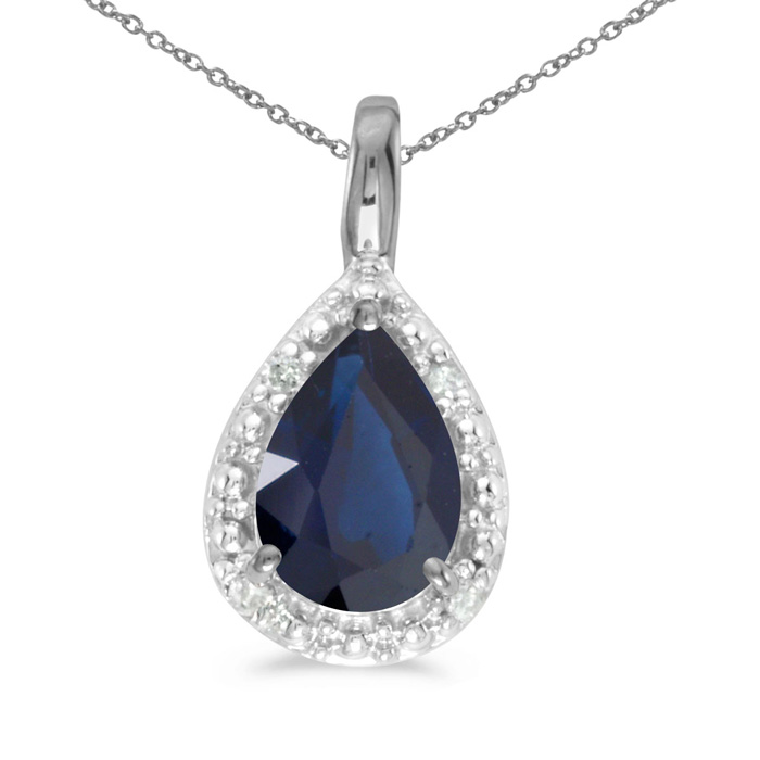 "14k White Gold Pear Sapphire Pendant With 18"" Chain"