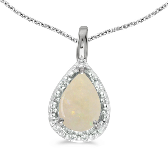 "14k White Gold Pear Opal Pendant With 18"" Chain"