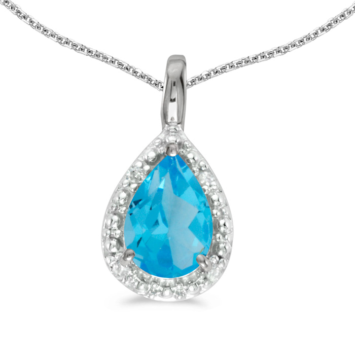 "14k White Gold Pear Blue Topaz Pendant with 18"" Chain"