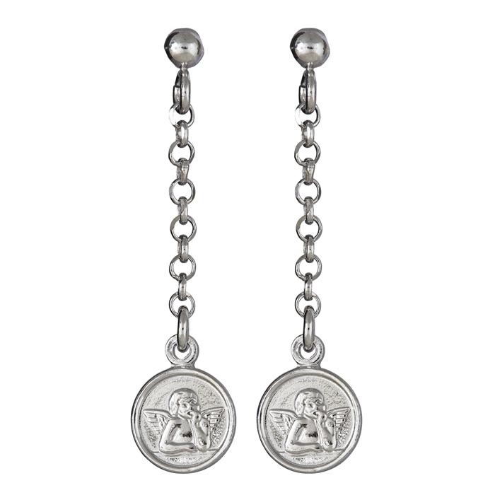 Sterling Silver Dangling Angel Earrings