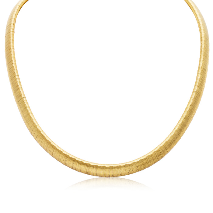 Italian Wide 8mm 14 Karat Yellow Gold Over Sterling Silver Flexible Wire Wrapped Arezzo Omega Style Necklace, 16 Inches