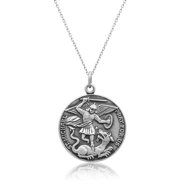 Sterling Silver Saint Michael Pendant Necklace, 18 Inchess
