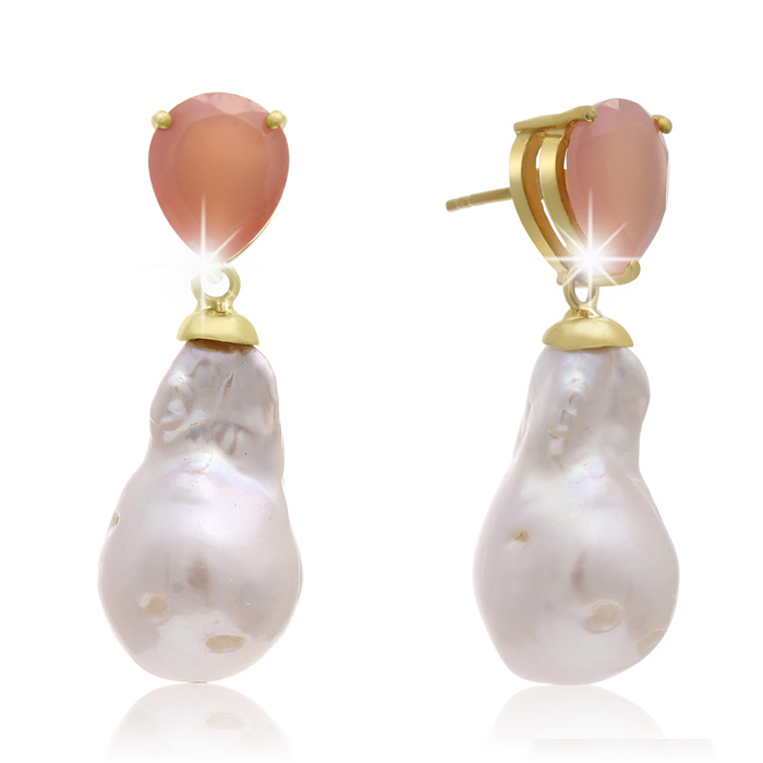 jewelpearl.com view the photo of  64 Carat Pear Shape Rose Quartz and Baroque Pearl Dangle Earrings In 14K Yellow Gold