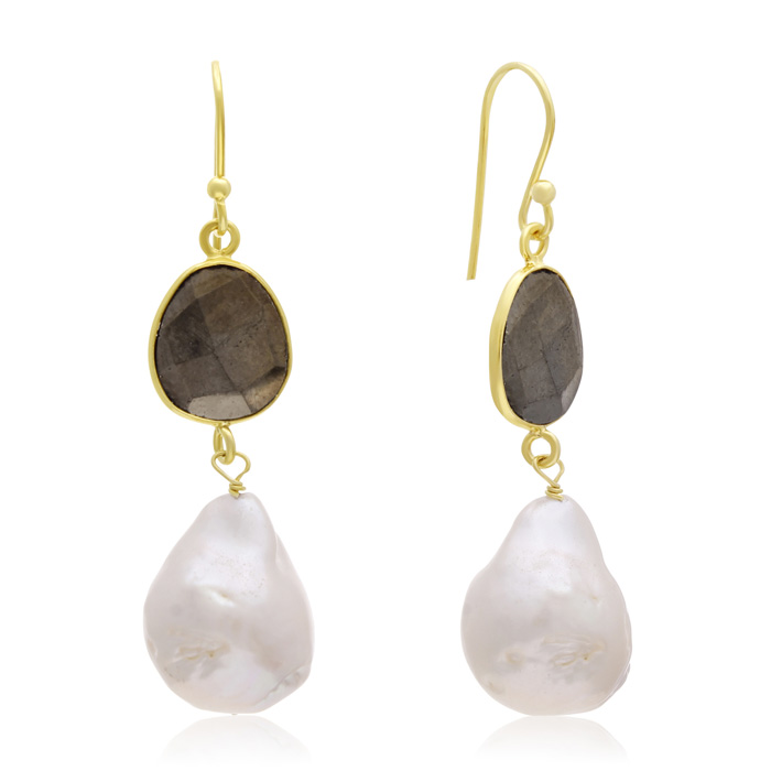 jewelpearl.com 64 Carat Pyrite and Baroque Pearl Dangle Earrings In 14K Yellow Gold
