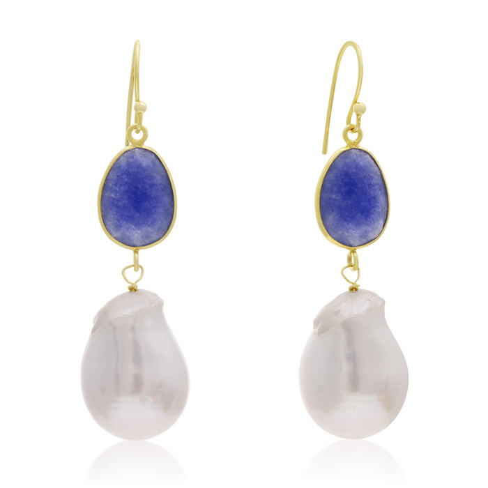 jewelpearl.com 64 Carat Sapphire and Baroque Pearl Dangle Earrings In 14K Yellow Gold