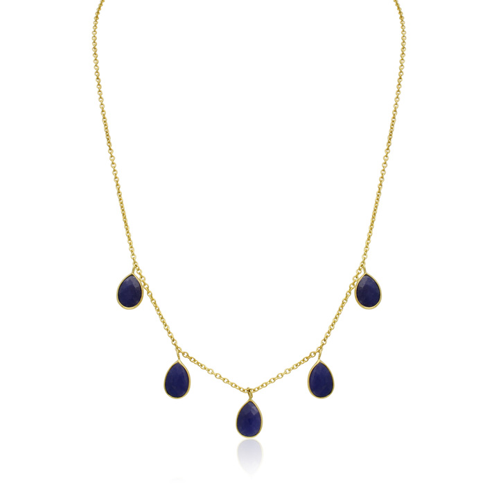 4 Carat Sapphire Multi Drop Necklace In 14k Yellow Gold, 18 Inches