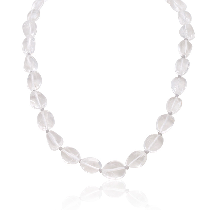 30 Carat Natural Rock Quartz Beaded Necklace, 18 Inches