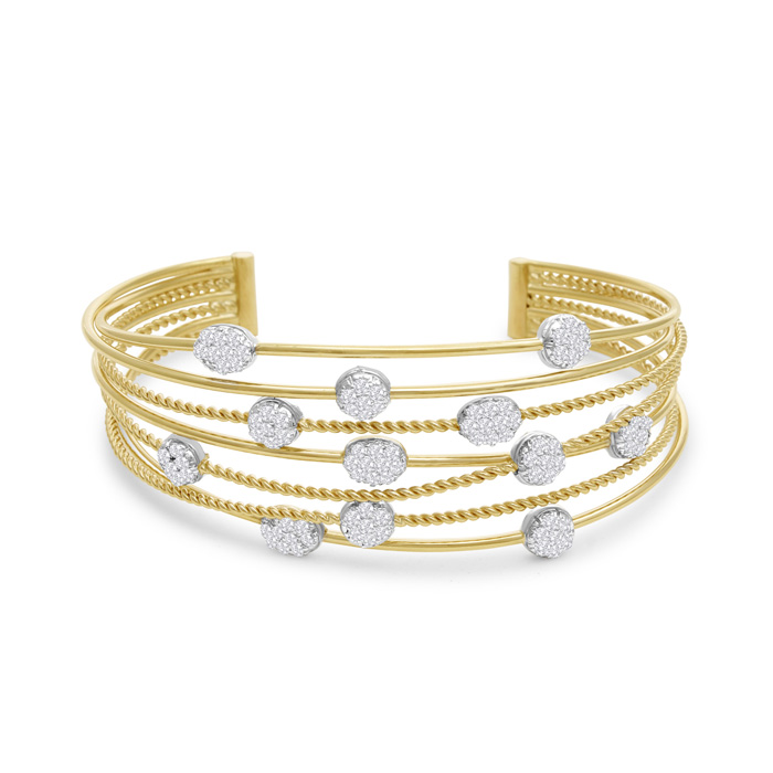 14 Karat Yellow Gold 2 Carat Pave Diamond Cuff Bangle Bracelet