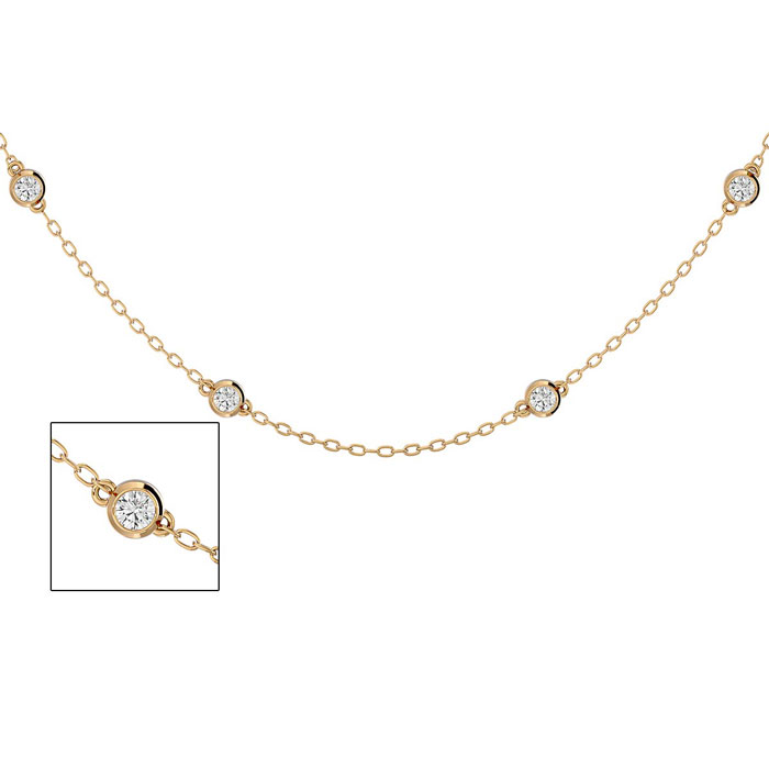 14 Karat Yellow Gold 1 Carat Diamonds By The Yard Necklace