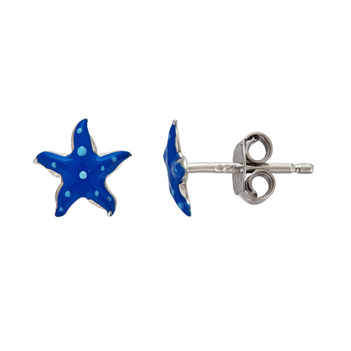 Sterling Silver Adorable Blue Starfish Stud Earrings