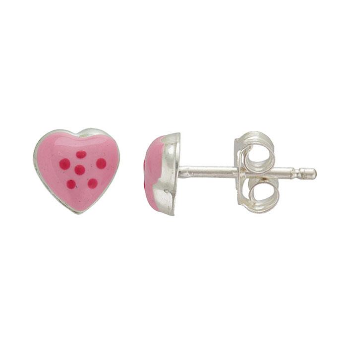 Sterling Silver Adorable Pink Heart Stud Earrings
