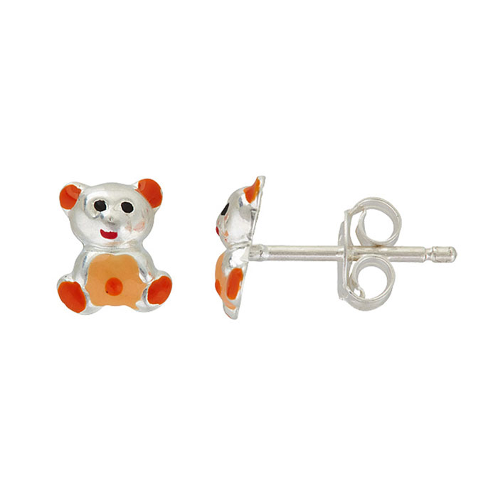 Sterling Silver Adorable Orange and Red Teddy Bear Stud Earrings