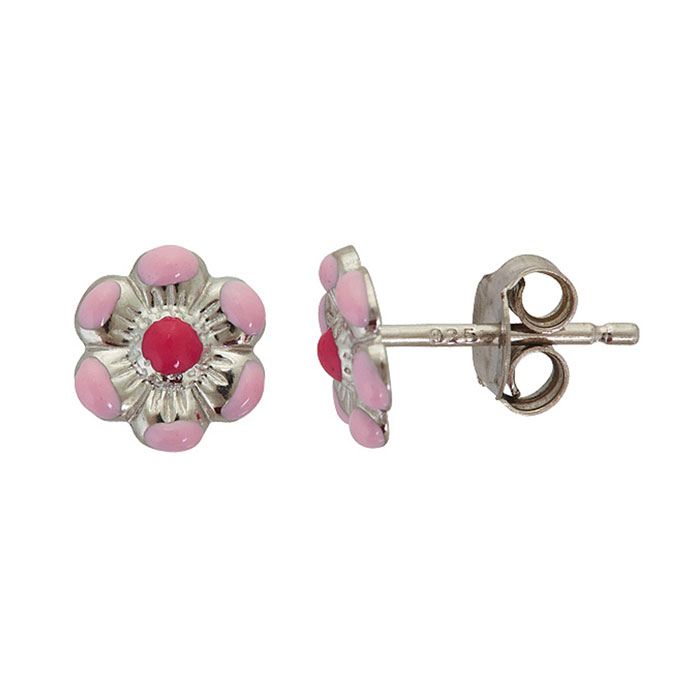 Sterling Silver Adorable Pink Daisy Stud Earrings