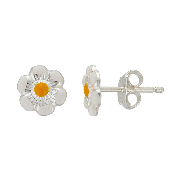 Sterling Silver Adorable Yellow Daisy Stud Earrings