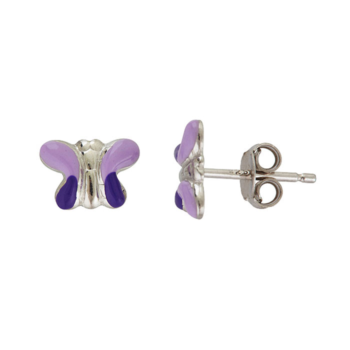 Sterling Silver Adorable Purple Butterfly Stud Earrings