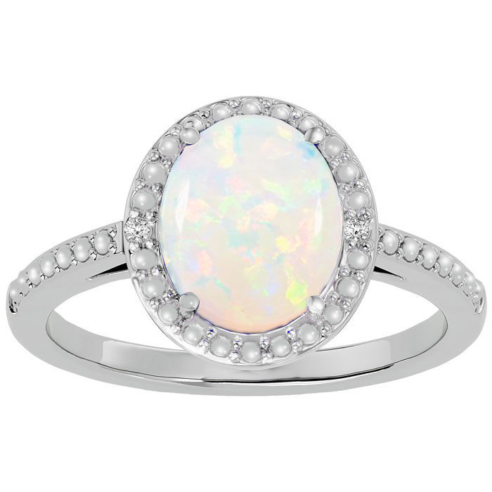1 -+ Carat Opal And Diamond Halo Ring In Sterling Silver