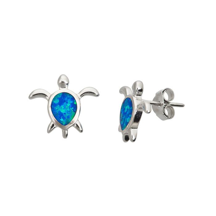 Sterling Silver Opal Turtle Stud Earrings